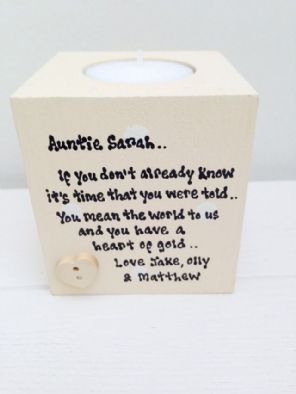 Shabby Personalised Chic Auntie Aunty Aunt Present ANY NAME!! Candle Gift..